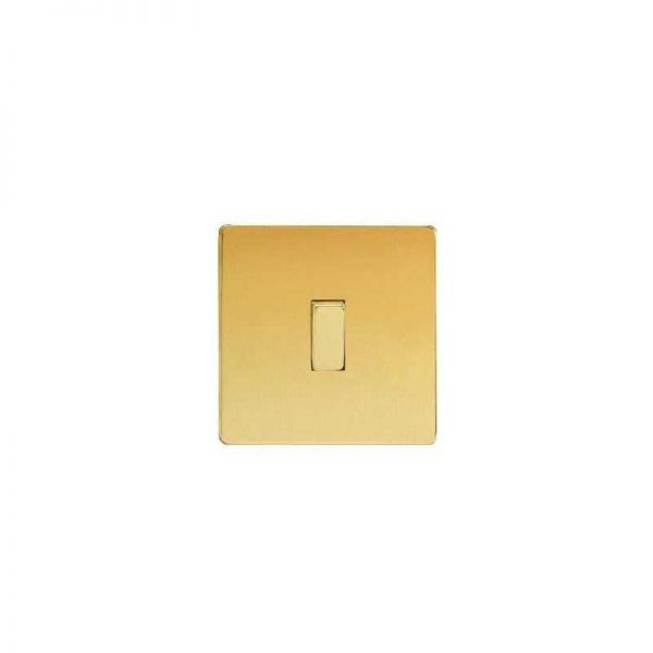 Screwless Flat Plate One Gang Intermediate : Polished Brass