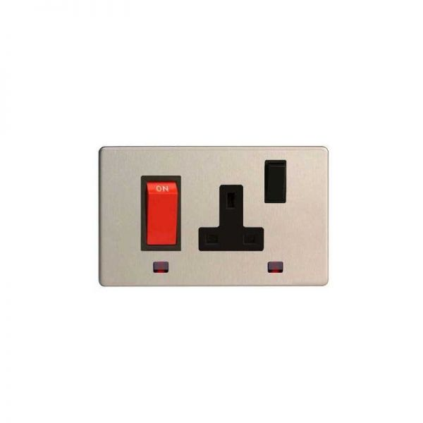 Varilight Screw Less Flat Plate 45A Neon Cooker Switch with 13A Socket