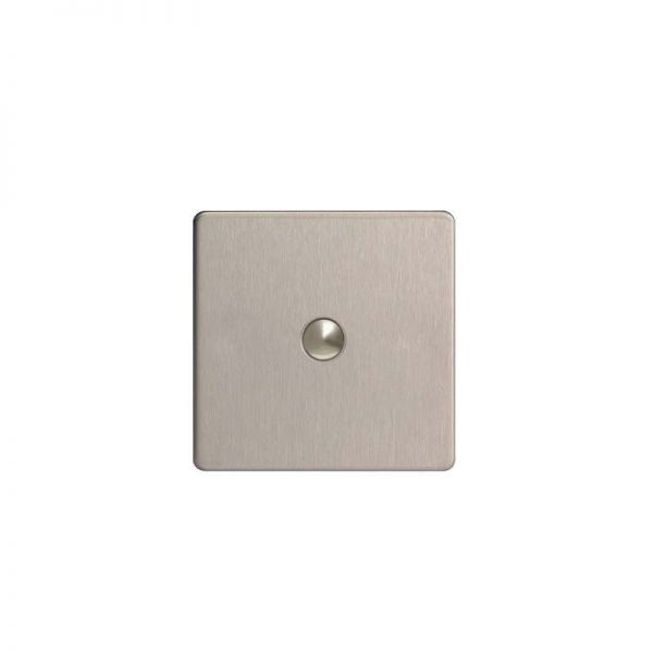 Screwless Flat Plate One Gang Push Switch : Brushed Steel