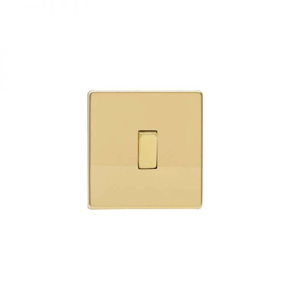 Screwless Flat Plate Switch One Gang : Polished Brass