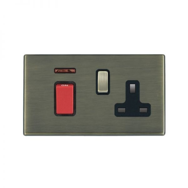 Hamilton Hart G2 AB 45A Red Rocker + Neon + 13A Switched Socket BL