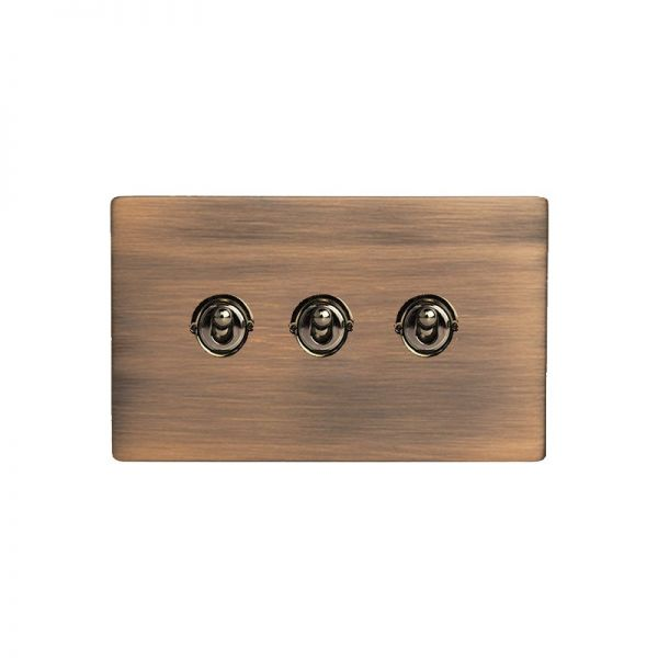 Hamilton Sheer CFX 3 Gang Toggle Switches Copper Bronze