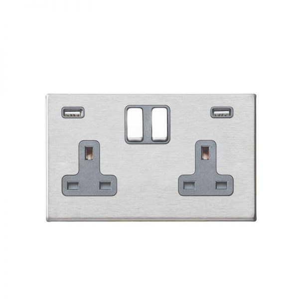 Hamilton Hartland G2 DP 2G Switched Socket With 2 USB Outlets (4.8A Total)