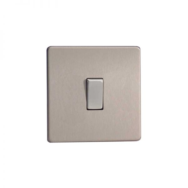 Varilight Screw Less Flat Plate Switch 1 Gang Brushed Steel
