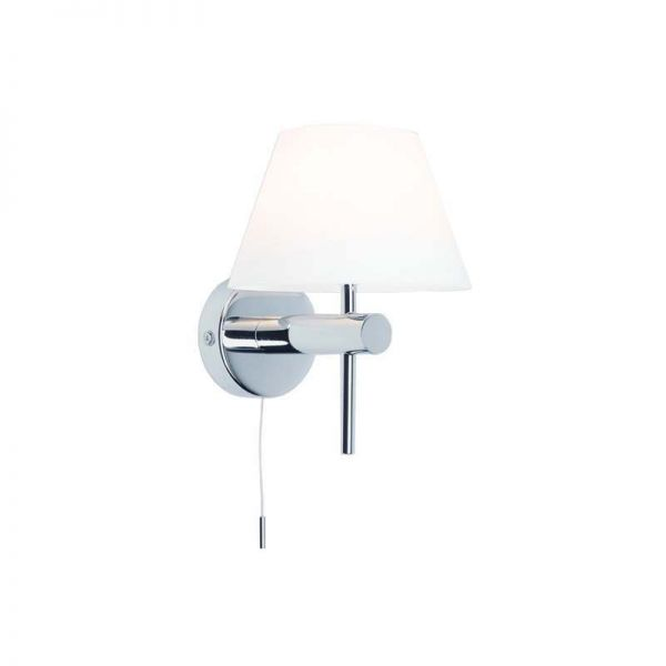 Roma Switched Bathroom Wall Light Polished Chrome White Opal Glass Shade