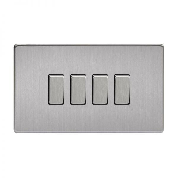 Varilight Screw Less Flat Plate Switch 4 Gang Brushed Steel