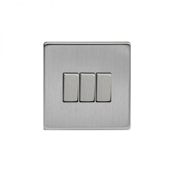 Varilight Screw Less Flat Plate Switch 3 Gang Brushed Steel