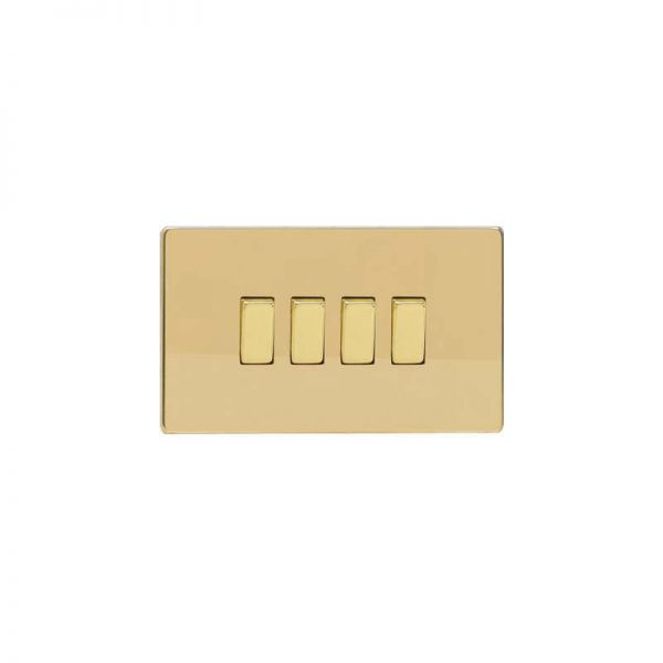 Screwless Flat Plate Switch Four Gang : Polished Brass