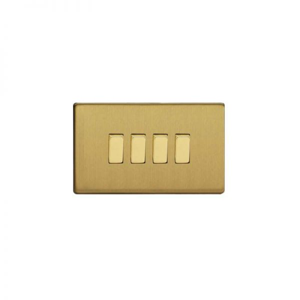 Screwless Flat Plate Switch Four Gang : Brushed Brass
