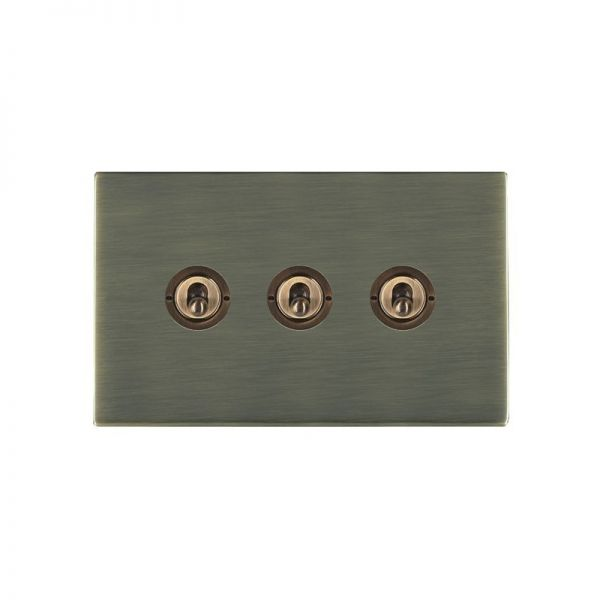 Hamilton Sheer CFX 3 Gang Toggle Switches Antique Brass